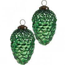 Adventsdekoration, dekorative kegler, efterårsfrugter ægte glas, antikt look Ø7cm H11,5cm 6stk