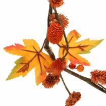 Efterår krans med ahorn blade og orange kegler 1,28 m