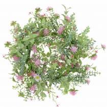 Engkrans med kløver floket lyserød, grøn Ø30cm