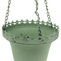 Blomsterkurv lavet af metalgrøn Ø21cm H30cm