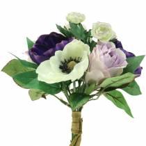 Buket med anemoner og roser violet, creme 30cm