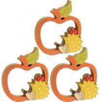 Dekorativ figur efterår, æble med pindsvin, trædekoration 16,5 × 15cm 3stk