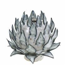 Dekorativ vase kunstchok keramisk blå, hvid Ø9,5cm H9cm