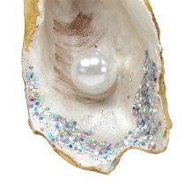 Hængende østers med perle og glimmer 8,5 cm