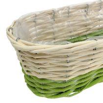 Balkonkasse oval 48x18cm H14cm creme, grøn