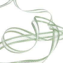Gavebånd mintgrøn med sølv 15mm 20m