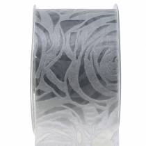 Dekorative båndroser bredgrå 63mm 20m