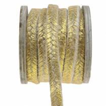 Ledningsbrede jute guld 10mm 4m