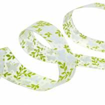 Dekorativt bånd med sommerfugle 25mm grønt organza bånd gavebånd 20m