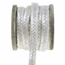 Ledningsbred jute sølv 10mm 4m