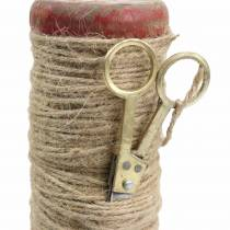 Trådrulle med dekorativ saks Ø6,5cm H15cm 2stk vintage stil