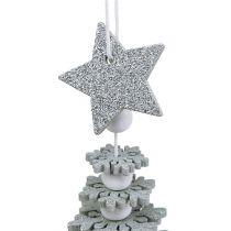 Træ at hænge med klokke sølv 29cm