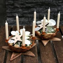 Skål med 4 lysestager til træ brun Ø14cm
