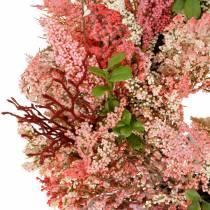 Lyngkrans kunstig lyserød Ø48cm