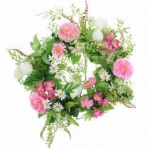 Bellis krans / checkerboard blomst pink, hvid Ø30cm