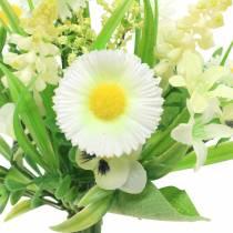 Forårbuket med Bellis og Hyacinth kunstig hvid, gul 25cm
