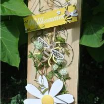 Dekoration til at hænge bier gul, hvid, gyldent træ sommerdekoration 6stk