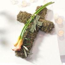 Blomsterskum kryds lille grøn 42cm 4stk begravelsesblomster