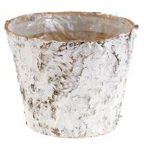 Dekorativ gryde hvid bjørk Ø18cm H15cm