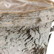 Birkekande med fælge medium Ø16cm H13cm hvid
