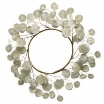 Krans af blade kunstig champagne runde blade Ø55cm