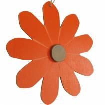 Blomst vedhæng, dekorative blomster orange og hvid, træ dekoration, sommer, dekorative blomster 8stk