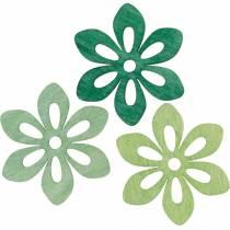 Scatter blomster grøn, forår dekoration, træ blomster til spredning, bord dekoration 72stk