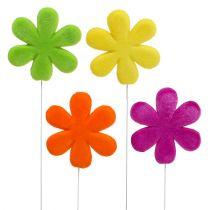 Blomster studs farverige flokede Ø8.5cm 8stk