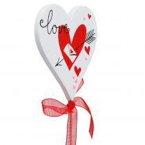 Blomsterknopper hjertehvide med sløjfe 7cm 12stk