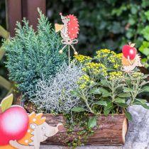 Blomstnål pindsvin, trædekoration, efterårsfigur H9.5cm L32cm 12stk
