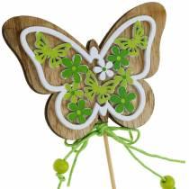 Blomsterknap sommerfugl træ fjeder dekoration på stang 12stk