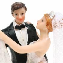 Bryllupsdekoration brud og brudgom håndmalet H13cm