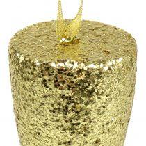 Bøjle champagneglas lysguld glitter 15cm nytårsaften og jul