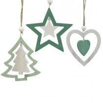 Juletrædekorationer blander grøn, hvid 10 cm 9stk
