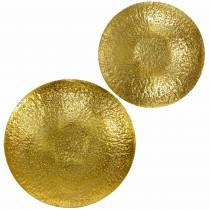 Gyldent dekorativt skål metal Ø35 / 46cm, sæt med 2