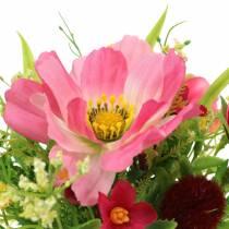 Dekorativ buket Cosmea og snebold i en flok Kunstigt sorteret lyserød H18cm