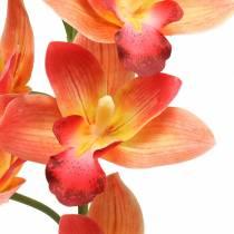 Orkidé kunstig blomst Cymbidium Orange 74cm