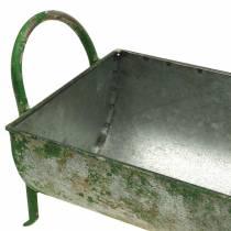 Dekorativt zinkrug til plantning med håndtag grå, grøn 60/43 cm sæt med 2