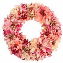 Dahlia blomsterkrans lyserød, fløde Ø42cm