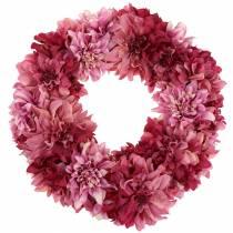 Dahlia blomsterkrans mørkeagtig, valg Ø42cm