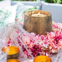 Dahlia blomstre krans pink, creme Ø42cm