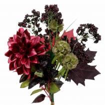 Kunstig dekorativ buket med dahlia og bær lilla 45cm