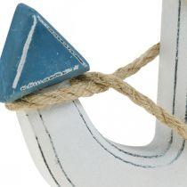 Dekorankertræ til at dække borddekoration maritimblå, hvid H24cm
