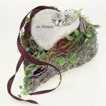 Hjerte med rosegrå 16,5 cm x 10 cm 2stk