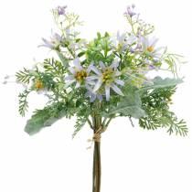 Dekorativ buket, lilla silkeblomster, foråret dekorationer, kunstige asters, nelliker og eukalyptus