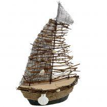 Dekorativ båd med grene og skaller 38 cm