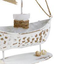 Dekorativ båd stående hvid H22cm