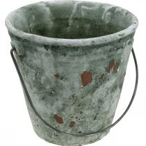 Dekorativ spand, blomsterkar, keramisk spand, antikt look, Ø19,5cm H19cm