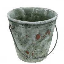 Plantspand, havedekoration, keramisk spand, antik optikplanter Ø16cm H13,5cm