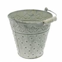 Dekorativ spand, vasket hvid med håndtag Ø20,5cm, planter, metal dekoration
